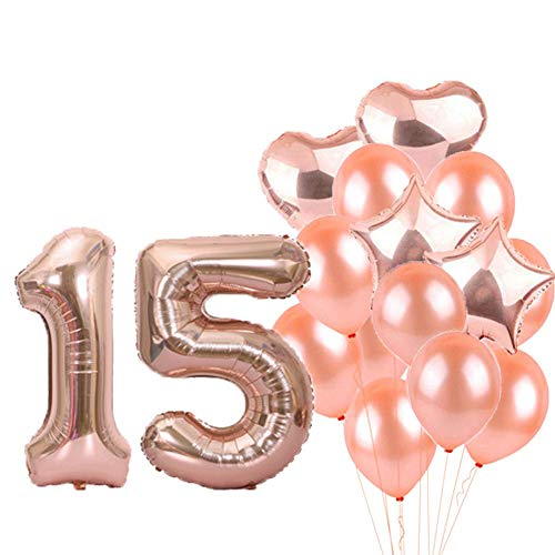 15th Birthday Decorations Party Supplies,15th Birthday Balloons Rose Gold,Number 15 Mylar Balloon,Latex Balloon Decoration,Great Sweet 15th Birthday Gifts for Girls,Photo Props