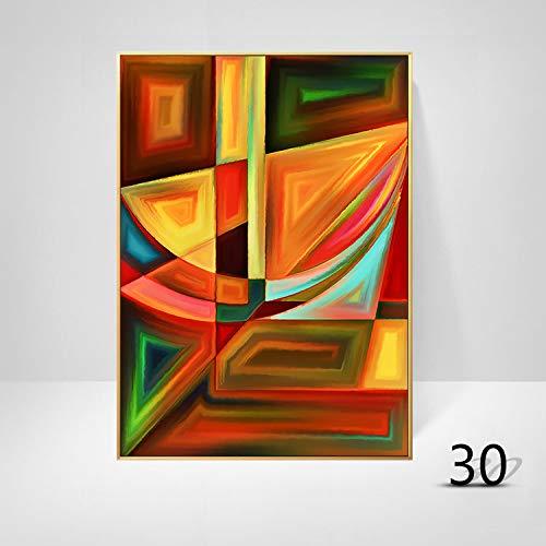 WSNDGWS Woonkamerdecoratie geometrische abstracte kleur kunst moderne minimalistische massieve muurschildering zonder fotolijst 20x30cm Q1