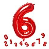 32 Inch Red Number 6 Balloons Foil Ballon Digital Birthday Party Decoration Supplies (Red Number 6 Balloon)