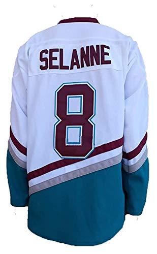 NHL Eishockey Trikots Selanne # 8 / Kariya # 9 Mighty Ducks Film Men Sweatshirts atmungsaktiv T-Shirt (Color : 8-White, Size : Large)