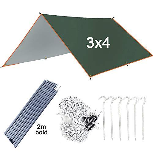 Toldos Vela 4x3m Tienda CampañA 3x3m Velas De Sombra/Ultraligero Jardín Protector Solar Toldo Sombrilla/Camping Al Aire Libre Hamaca Playa Refugio Solar Carpas Cenadores,3x4m