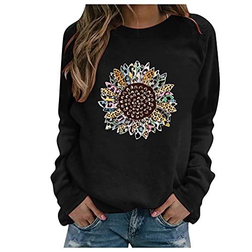 Neu T-Shirt Damen Oversized Mode Lose Rundhals Oberteile Drucken Bluse Streetwear Sport Oberteile Vintage Sweatshirt Teenager Mädchen Tunika Lang Tops(Schwarz,XXL)