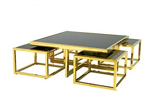 Casa Padrino Luxus Art Deco Designer Couchtisch 5er Set Gold mit schwarzem Glas - Wohnzimmer Salon Tisch - Luxus Qualität