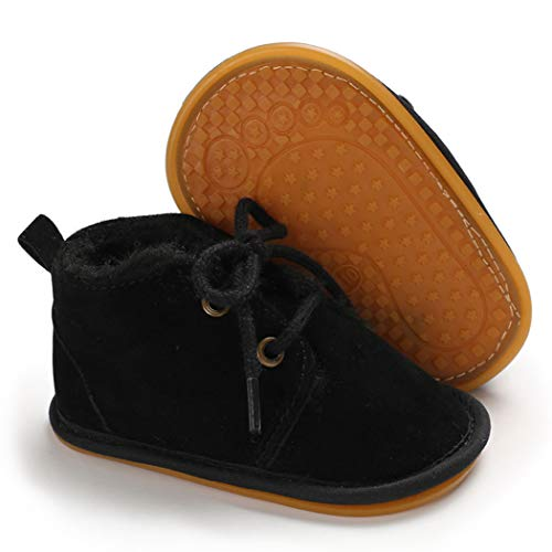 Infant Boots Winter Baby Girl Shoes Soft Sole Anti-Slip Toddler Snow Warm Prewalker Newborn Boots(0-6 Months M US Infant,C-Black)