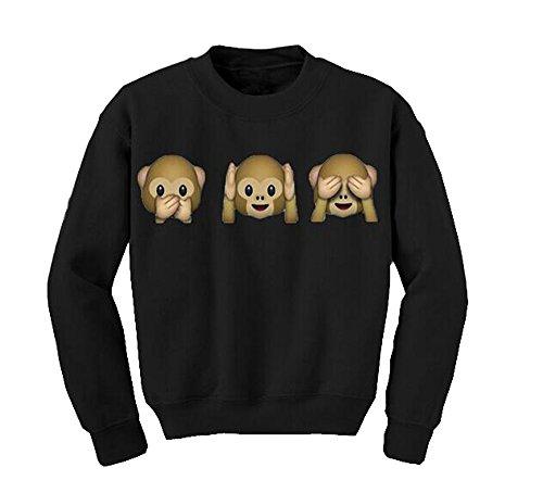 Frauen Tier Affe Emoji gedruckt Rundhals Pullover Herbst Langarm-Top Bluse Sweatshirt