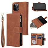 RANYOK Wallet Case Compatible with iPhone 12/12 Pro (6.1 inch), Premium PU Leather Zipper Flip Folio Wallet with Wrist Strap Magnetic Closure Built-in Kickstand Protective Case - Brown