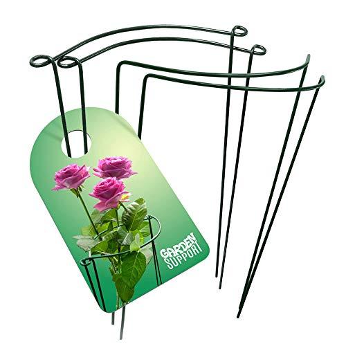 Gartenstütze, stabile und stabile Pflanzenstützkäfige – 4 Metallringe für Pfingstrosen, Rosen und Hortensien | grün 30 x 39,9 cm miteinander verbindbare Draht-Halbkreolen | perfekt für Topf- oder Gartenblumen