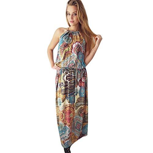 Vestido largo de playa con estampado bohemio ocano de una pieza para mujer, vestido de encaje, espalda descubierta, vestido de verano para la playa multicolor M