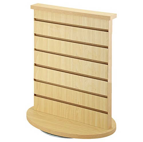 AMKO WD2CT Slatwall Merchandiser, Rotating Countertop Display – Spinning Rack with Maple Finish. Retail Store Fixtures and Equipment