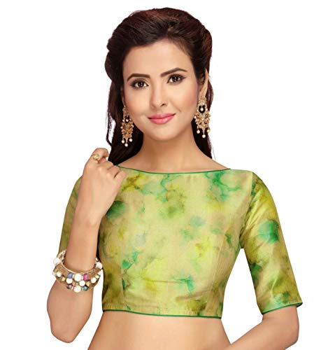 Studio Shringaar Women's Poly Raw Silk Tie Dye Saree Blouse with Boat Neck and Elbow Length Sleeve (S2030, Green, 42)
