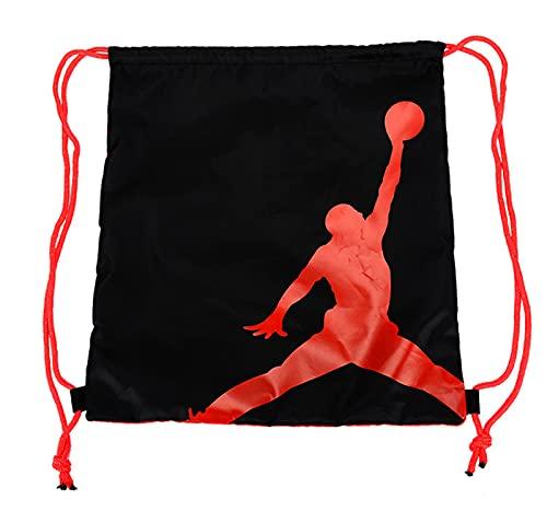Longmen Jordan Jordan Doble Hombro Ropa con Cordón Bolsa de Almacenamiento con Cordón Estudiantes Masculinos y Femeninos Deportes Bolsa de Baloncesto Impermeable,L