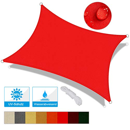 OKAWADACH Toldo Vela de Sombra Rectangular 2 x 3m, protección Rayos UV Impermeable para Patio, Exteriores, Jardín, Color Rojo