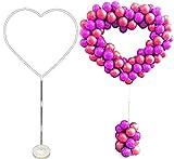 Kit de soporte de columna de arco de globo en forma de corazón, soporte de globo para manualidades, forma de globo incluido base de columna, poste y puntos (forma de corazón)