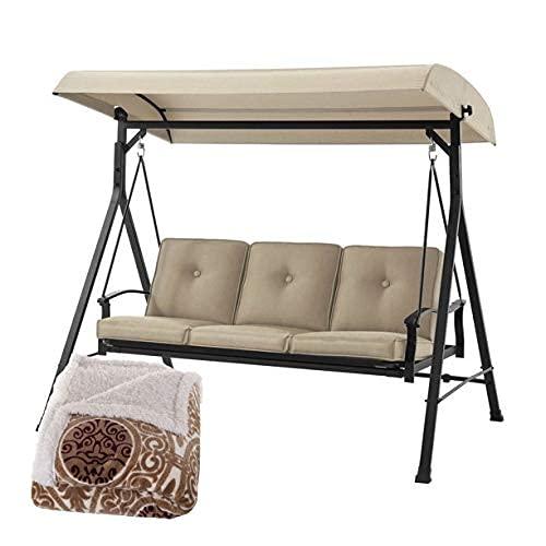 Mainstays 3-Seat Belden Cushion Swing with Printed Coral Soft Fleece Sherpa Throw Blanket Bundle, Beige