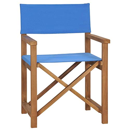 YUDIAN Silla de Director, sillas de Camping Plegables Asiento al Aire Libre en el Camping, Playa, Campo Deportivo Madera de Teca Maciza Azul