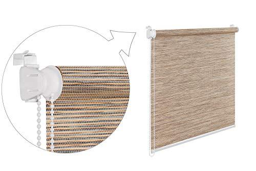 Tropik home Oriental Bamboo-Like Natural Window Roller Blind, 16 Width Sizes, 4 Designs, 85cm (+4.5cm Fittings), Bamboo