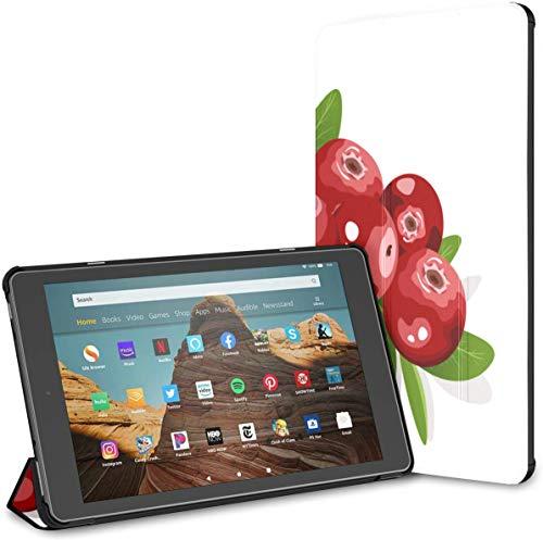 Funda para Tableta Cranberry Fire HD 10 de Color Rojo Brillante(9a/7a generación,versión 2019/2017) Funda para Tableta Kindle Fire 10 Fundas y Fundas de Cuero para Kindle Auto Wake/Sleep