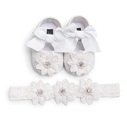 Infant Baby Girl White Shoes Princess Christening Baptism Shoes Bowknot Floral Mary Jane Flats Wedding Dress Shoes with Floral Headband