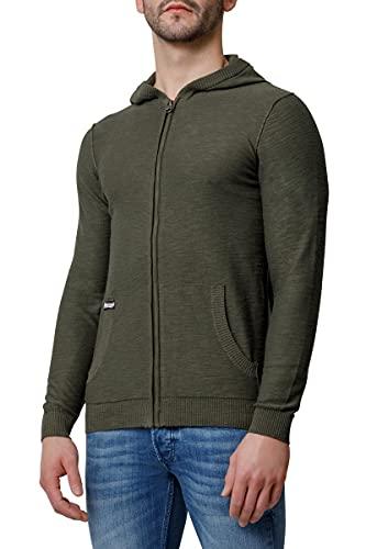 BOXEUR DES RUES - Slub Fullzip Sweatshirt with Hood, Uomo, Army, XL