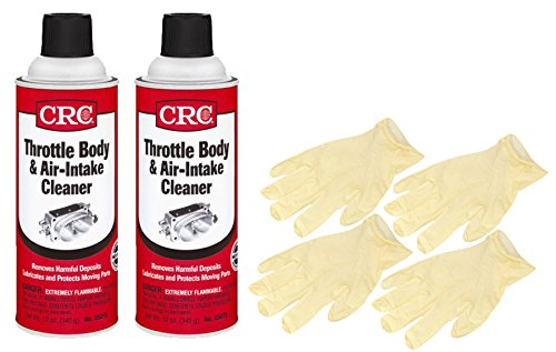 CRC Throttle Body & Air Intake Cleaner (12 Wt Oz) Bundle with Latex Gloves (6 Items)