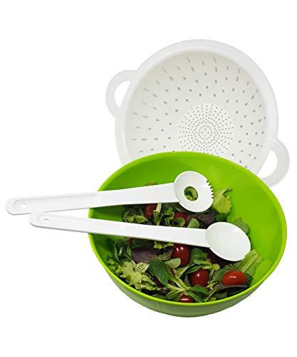 greenline Salat Pasta Anrichte- und Servier Set aus Bio-Kunststoff Nachhaltig Vegan Salatschüssel Seiher Salatbesteck Praktisches Salat-Set für jeden Tag