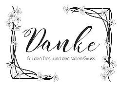 15 x Trauer Danksagungskarten mit Umschlag DIN A6, Motiv Danke im Blumen-Rahmen, Danke Sagen nach Beerdigung