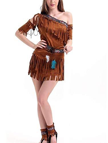 Hibasing Disfraz de Halloween de Disfraces de Mujeres nativas Americanas, Disfraz de Cazador de Bosque Nativo Indio