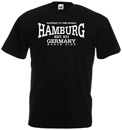 World-of-Shirt Unisex T-Shirt Hamburg Germany North Side|schwarz-L