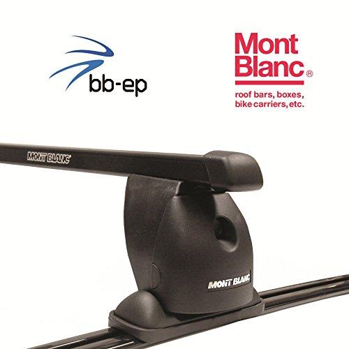 MontBlanc Premium Stahl Dachträger / Lastenträger für Seat Alhambra MPV mit Fix Punkten im Dach ab Baujahr 1996 bis 2010 - Komplettes Dachträgersystem komplett montiert im Karton inkl. ProTecton Glasreinigungstücher Anti-Beschlag