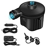 Electric Air Pump, High Power Quick-Fill Air Mattress Inflator Deflator Pump with 3 Nozzles for Inflatable Cushions, Air Mattress Beds, Swimming Ring, Inflatable Pool Float, 110-220 Volt, Black