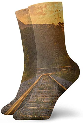 DLing Autumn Railway Track Rutschfeste Kompressionssocken Cosy Athletic 30cm Crew Socken für Männer, Frauen, Kinder