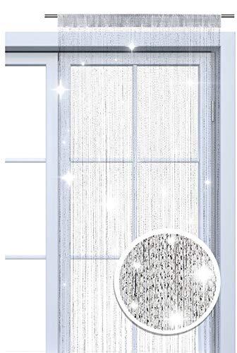 wometo Faden-Vorhang Glitzer-Vorhang 90x245 cm - weiß-Silber glänzender Deko Schal OekoTex transparent halbtransparent Weihnachten (weiß-Silber)