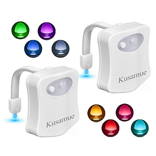 Kusamue Toilet Night Light 2 Pack, Motion Activated 8 Color Changing LED Glow Toilet Bowl Lights for Bathroom Battery Not Included