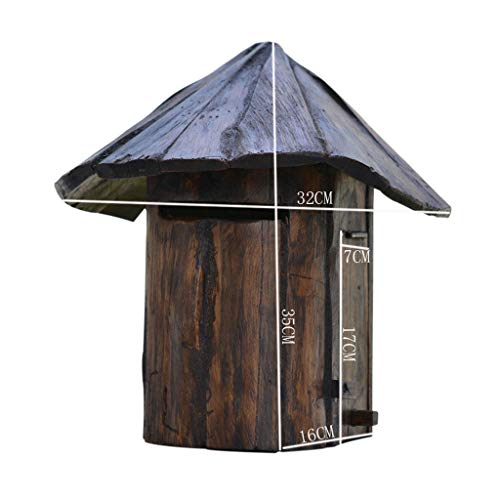 BGYX Holz Mailbox Holz Mail Organizer Rustikale Land Mail Sorter Pilz Design Massivholz Wasserdicht Kreative Vintage Villa Tür