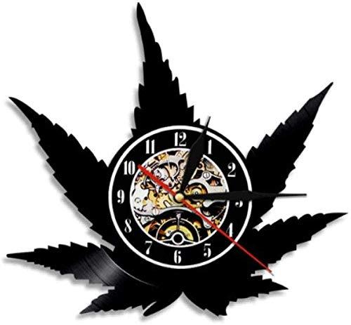 wttian Reloj de Pared de Vinilo, Reloj de Pared Retro con Hoja de Hierba, no Hace tictac, Silueta de Hoja de Cannabis, Arte Verde, Arte Mural a Base de Hierbas con LED