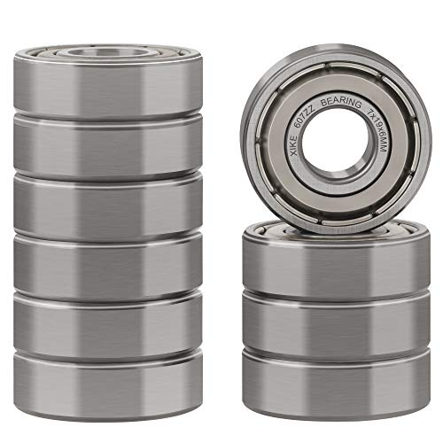 XiKe 10 Pcs 607ZZ Double Metal Seal Bearings 7x19x6mm, Pre-Lubricated and Stable Performance and Cost Effective, Deep Groove Ball Bearings.
