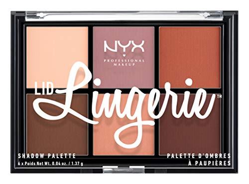 NYX Professional make-up deksel, Lingerie Eye Shadow palet, geperste pigmenten, 6 kleuren met romige matte textuur