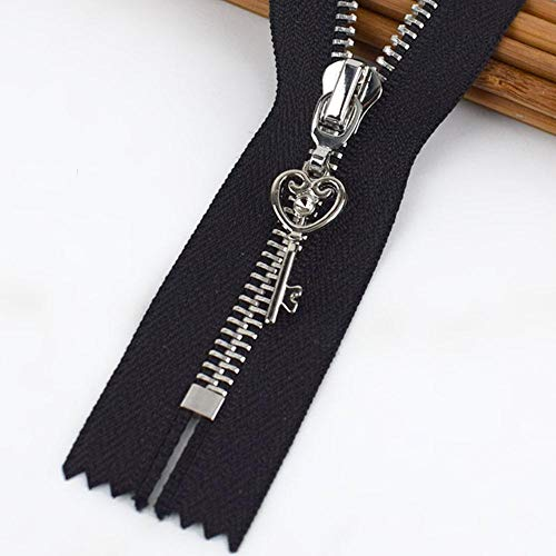 Meetee 5/10 Uds 20cm 5# Cremallera de metal Close-End DIY Bolsa Monedero Prenda de costura Accesorio de sastre Negro Cremallera Chaquetas Cremalleras ZA409-3-negro, 5pcs, 20cm