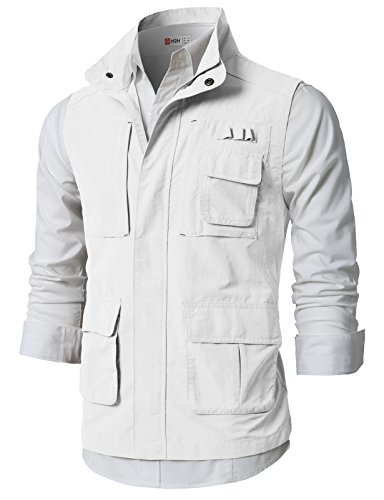 H2H Mens Simple Way Casual Work Utility Hunting Travels Sports Vest with Multiple Pockets OFFWHITE US S/Asia M (KMOV0152)