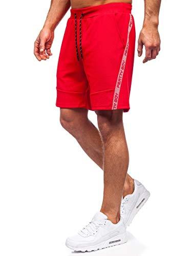 BOLF Pantaloni Sportivi Corti da Uomo con Stampa a Motivi Bermuda da Allenamento da Calcio Fitness Corti Sportivi Sportivi Elasticizzati Tempo Libero Street Style J.Style KS2601 Rosso L [7G7]