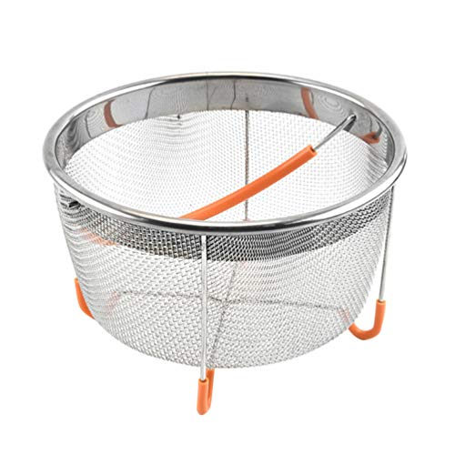 UPKOCH Stainless Steel Steamer Basket Mesh Colander Strainer with Silicone Handle for Instant Pot Pressure Cooker Accessories (Random Color)