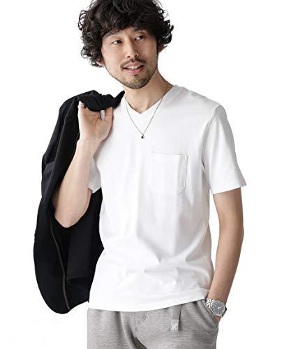 [ナノユニバース] Anti Soaked ヘビー Vネック Tシャツ メンズ L ホワイト