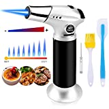 Blovec Butane Torch, Kitchen Blow Torch Cooking Torch Lighter Refillable with Security Lock and Adjustable Flame for Creme Brulee, Baking, BBQ, DIY Soldering (Butane Gas Not Included) (Silver)