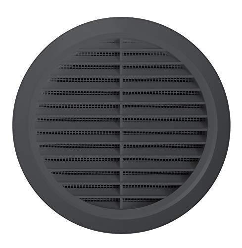 Lüftungsgitter Rund Insektennetz Abluftgitter Insektenschutz Kunststoff Ø 90 mm anthrazit