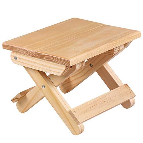 Vlook 2Pcs Folding Small Bench, Kiefernholz Square Hocker, umweltfreundliche tragbare, einfach zu bedienen, platzsparend, für Picknick Angeln Bad Garten