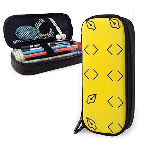 OUYouDeFangA - Bolsa de almacenamiento de piel sintética con diseño de hojas amarillas y líneas de piel sintética, bolsa de almacenamiento portátil para estudiantes, lápices, oficina, papelería, bolsa, cartera con cremallera, bolsa multifunción para maquillaje