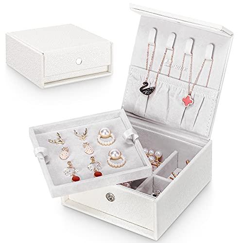 Seelux Caja Joyero Pequeña Viaje Cajas para Joyas Jewelry Organizer para Mujer, para Anillos, Pendientes, Pulseras y Collares, 2 Niveles, Blanco