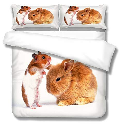 QIAOJIN Juego de ropa de cama con diseño de conejo único, funda nórdica para niñas y niños, estampado de animales, microfibra, reversible, muy suave, transpirable, con funda de almohada (240 x 220)