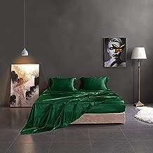 THXSILK Silk Sheets King Size, 4 Pcs 100% Mulberry Silk Bed Sheets, Flat Sheet Fitted Sheet Pillowcases Set – All Side 19 Momme Top Grade Silk, Emerald Green