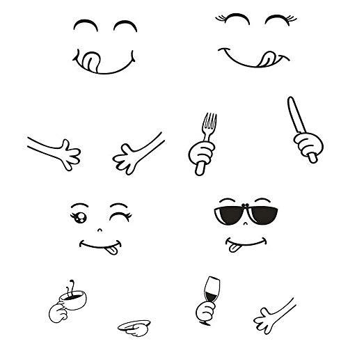 Tadpolez Faccia Felice Adesivi Murali, 4 Fogli Frigo Adesivi Murali Cartone Animato Frigorifero Adesivo Smile Face Art Decalcomanie Adesivo Carino Frigo per la Decorazione Domestica